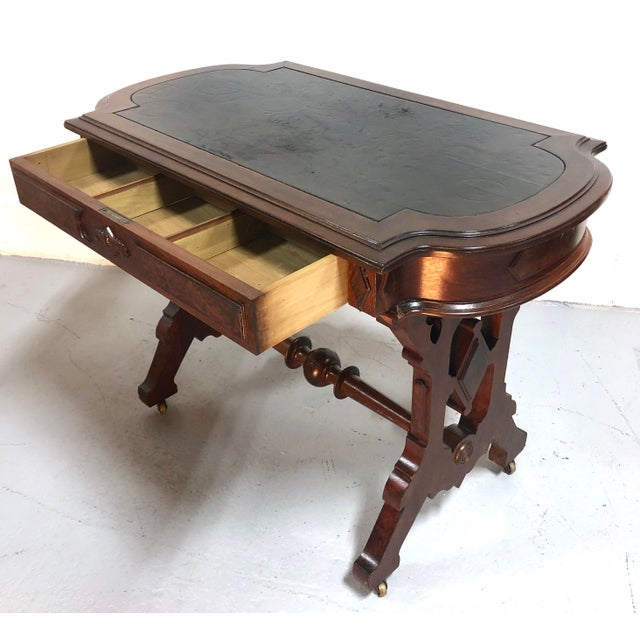 Eastlake Victorian Leather Top Mahogany Hall Table For Sale - Image 4 of 13