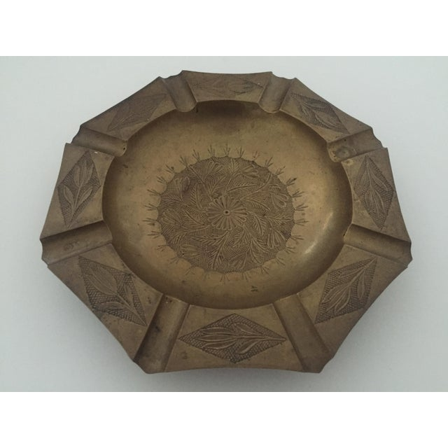 Mid 20th Century Vintage Mid Century India Brass Octagonal Etched Design Ashtray For Sale - Image 5 of 10