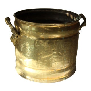 Vintage Brass Planter with Handles For Sale