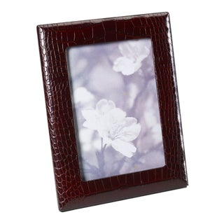 5 X 7 Embossed Brown Croc Photo Frame For Sale