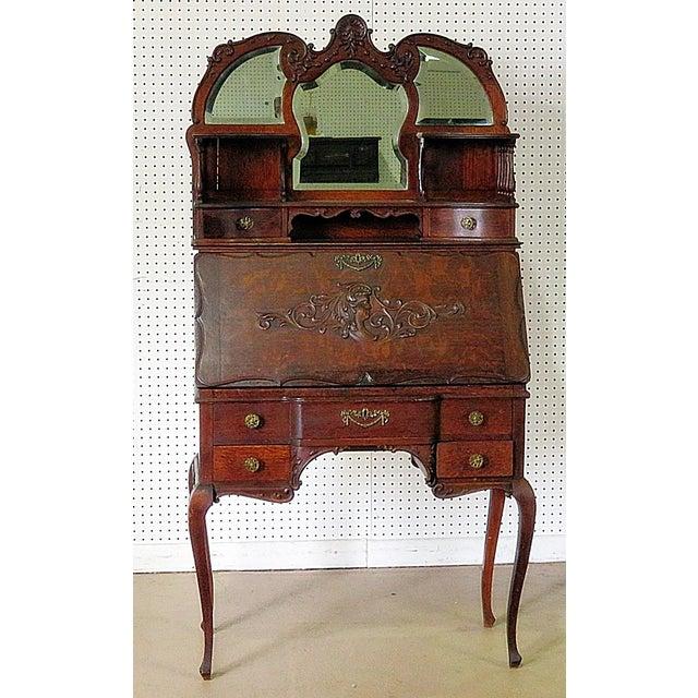 Gold Antique Louis XVI Style Secretary Desk For Sale - Image 8 of 8