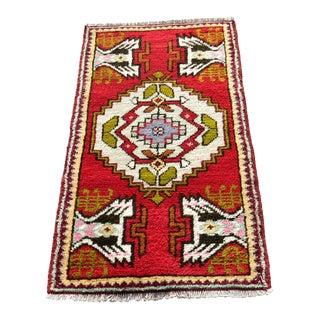 Vintage Turkish Anatolian Wool Carpet - 2x3ft For Sale