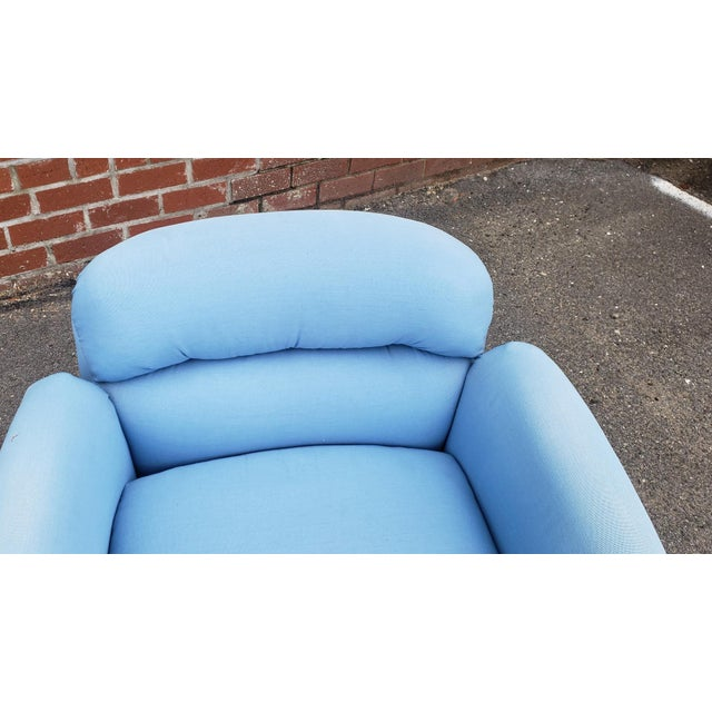 Blue Pair Contemporary Vintage 1970s T. Coggin Style Swivel Club Armchairs For Sale - Image 8 of 10