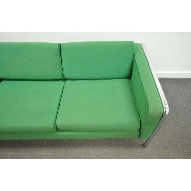 1970s Mid Century Modern Milo Baughman Style Tubular Chrome Frame Green 3 Seat Sofa For Sale - Image 5 of 10