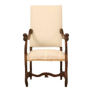 Circa 1880 French Walnut Os De Mouton Throne Chair For Sale