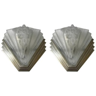 French Art Deco Signed Atelier Petitot Ribbed Wall Sconces - a Pair For Sale