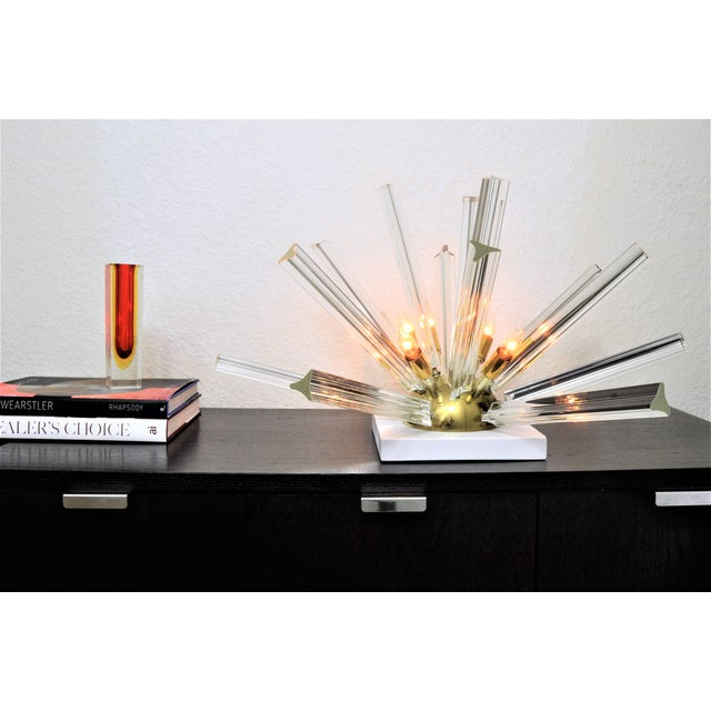 Venini Mid-Century Modern Italian Murano Glass & Brass Sputnik Table Lamp - Image 11 of 12