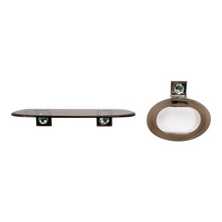 Max Ingrand for Fontana Arte Glass Shelf and Towel Ring For Sale