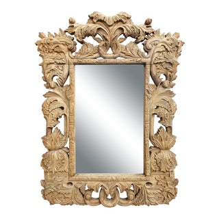 Antique Highly Carved Vintage Wooden Mirror For Sale