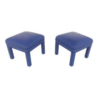 Reupholstered Ottomans or Low Stools, Circa 1980s - a Pair For Sale