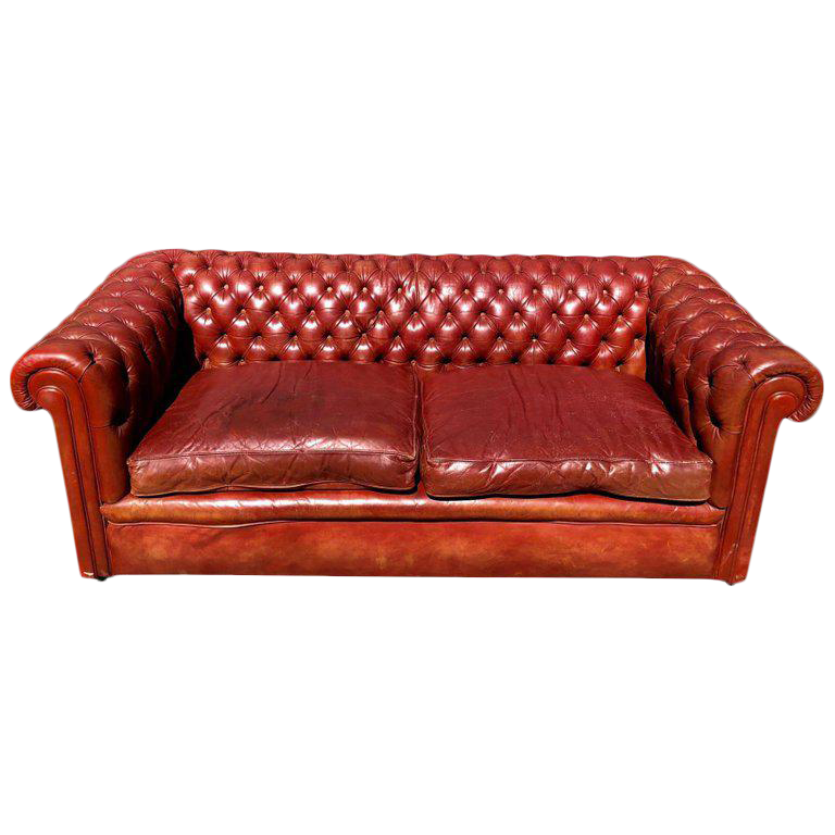 1930s English Traditional Distressed Tufted Leather Chesterfield Sofa