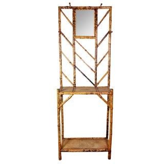 Late 19th Century Antique Victorian Tiger Finished Bamboo & Rattan Hall Tree For Sale