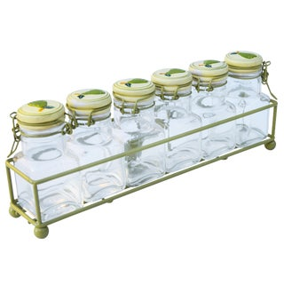 Midcentury Glass Jars, 7 Pieces For Sale