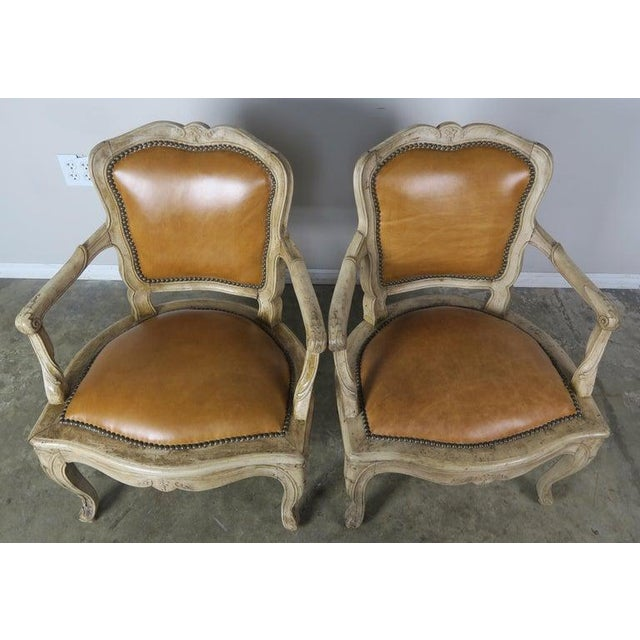 French Pair of French Louis XV Style Carved Bleached Walnut and Leather Armchairs For Sale - Image 3 of 9