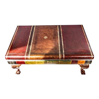 Maitland-Smith Leather Bound & Gold Leaf Book Stack Table