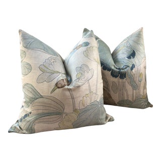 G.P and J Baker Nympheus in Frost and Sea Down Filled Pillows - a Pair For Sale