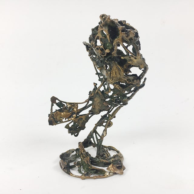 Abstract Ben Kupferman Bronze Sculpture With Malachite For Sale - Image 3 of 6