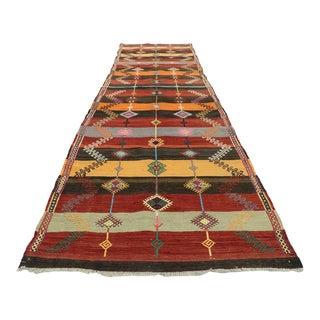 Vintage Turkish Kilim Runner, Flat-Weave Rug - 03'00 X 11'09 For Sale
