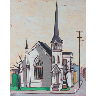 """Berkeley"" 1964 Oil Painting of a Chapel For Sale"