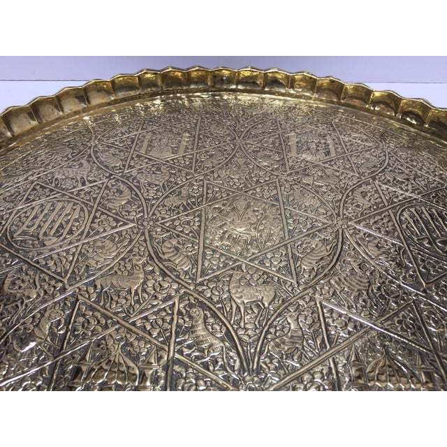 Large Handcrafted Decorative Indo-Persian Hammered Brass Tray For Sale - Image 9 of 13