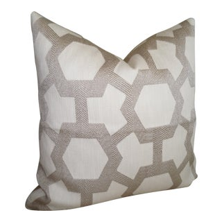 """Robert Allen """"Chemistry"""" in Truffle Square Pillow Cover For Sale"""