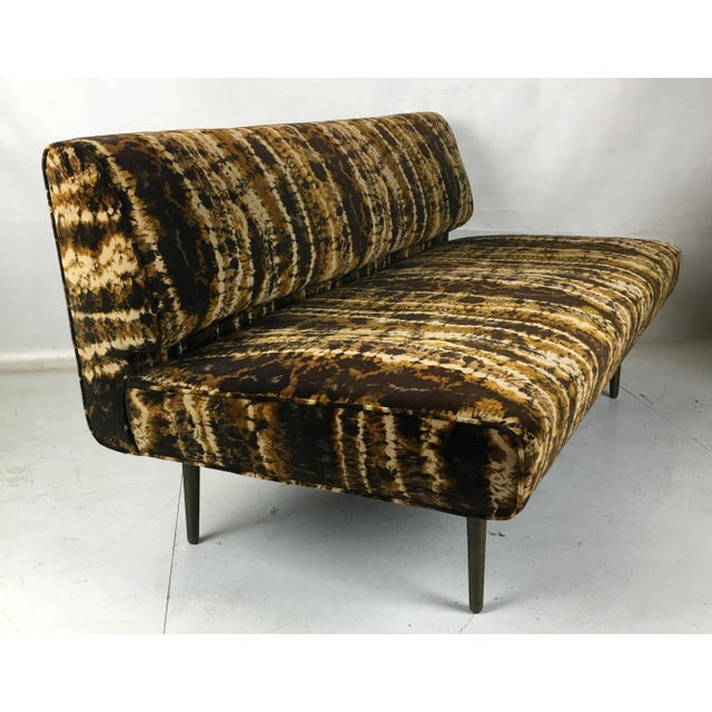 Gold Sofa or Bench With Brass Legs by Edward Wormley for Dunbar-Larsen Velvet For Sale - Image 8 of 8