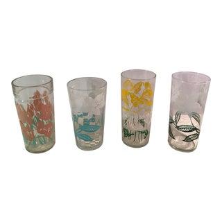 Mid-Century Modern Flower Glasses - Set of 4 For Sale