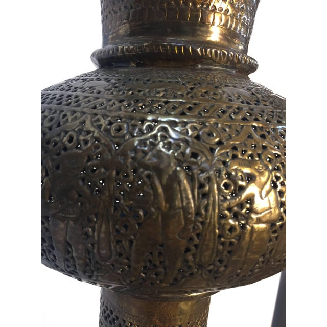 Antique 19th Century Brass Islamic Middle Eastern Persian Floor Lamp For Sale In Los Angeles - Image 6 of 9