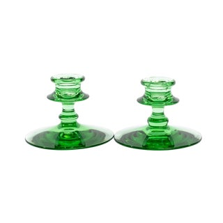 Vintage Leaf Green Candle Stick Holders - a Pair For Sale