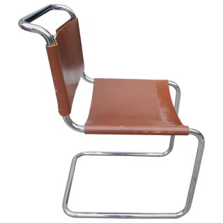 Bauhaus Design Cantilevered Tubular Metal and Saddle Leather Chair by Mart Stam For Sale