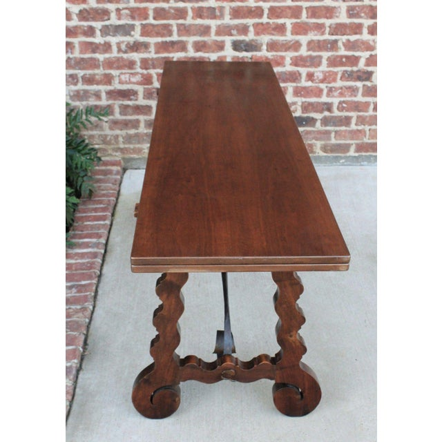 Antique French Spanish Walnut Mission Catalan Dining Table Sofa Table For Sale - Image 12 of 13