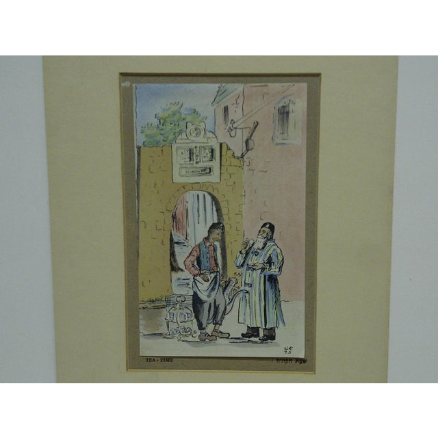 """This is a vintage, matted Judaic Print, titled """"Tea-Time"""". Artist Unknown."""