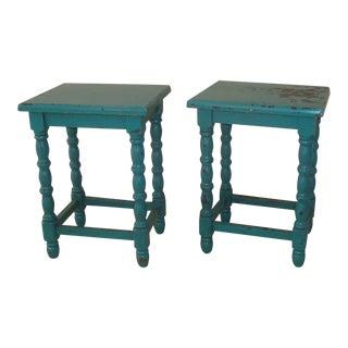 Vintage Turquoise Blue Petite End Tables - a Pair