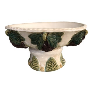 Vintage Pedestal Italian Pottery Bowl For Sale
