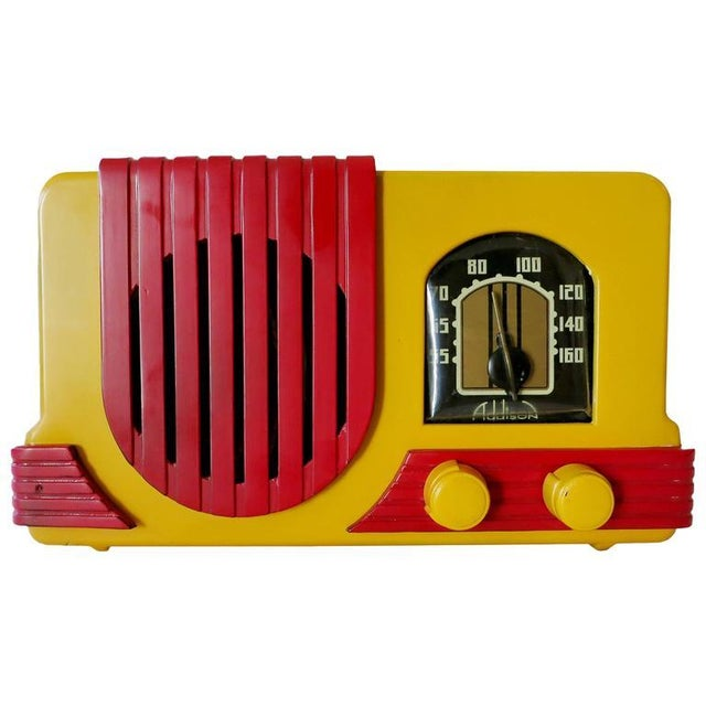 """Addison Model Two """"Waterfall"""" Red and Mustard Catalin Tube Radio For Sale"""