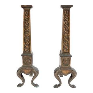 Golden Scroll Andirons - A Pair For Sale