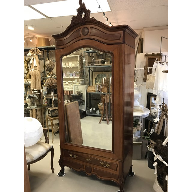 Antique French Wood Armoire - Image 2 of 8