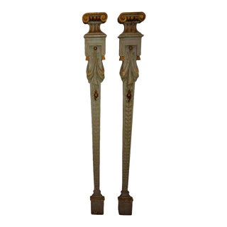 Italian Neoclassical Style Painted and Giltwood Architectural Pilaster Columns For Sale