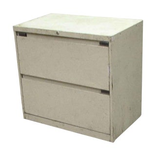 Cream Worn Metal Lateral File Cabinet For Sale