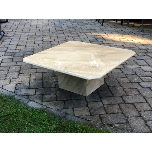 "Italian Travertine Coffee Table by CIM, circa 2004. Very thick solid travertine top (7/8""), supported by heavy pedestal..."