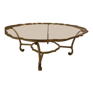 1950s Hollywood Regency LaBarge Scalloped Edge Brass and Glass Coffee Table For Sale