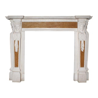20th-C English Georgian Style Carved White and Sienna Polychrome Marble Mantel For Sale
