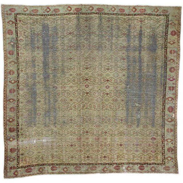 Distressed Antique Oversized Square Rug - 12′10″ × 13′9″ For Sale In Los Angeles - Image 6 of 6