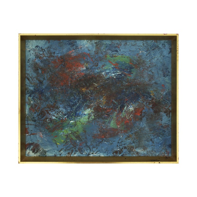 Abstract Blue & Red Painting in Gold Frame For Sale