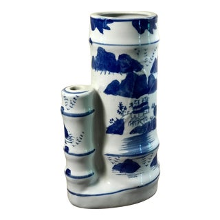 20th Century Chinoiserie Blue and White Porcelain Bamboo Double Vase