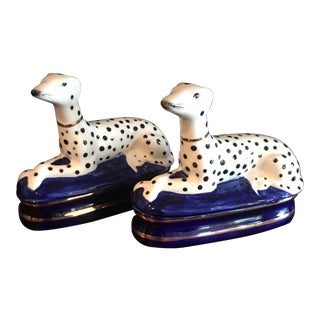Fitz & Floyd Hand Painted Porcelain Dalmatian Trinket Box - a Pair For Sale