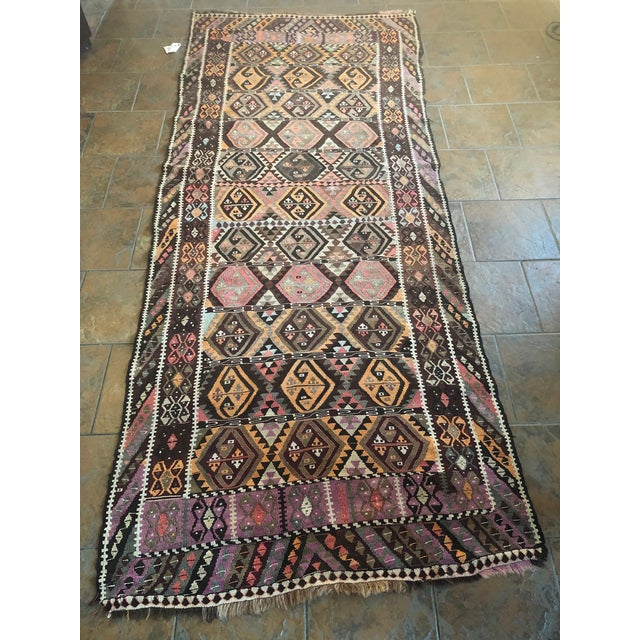 Antique Earth Tones Kilim Rug - 4′ × 9′ For Sale - Image 11 of 11