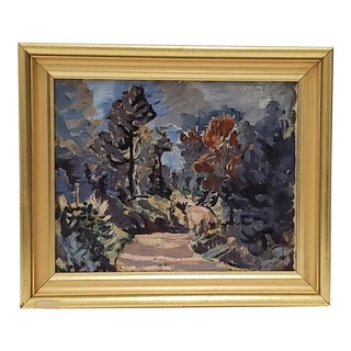 Mountfort Coolidge (1888-1954) Maine Country Landscape Painting C.1940s For Sale
