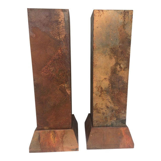 Faux Copper Finish Pedestals - Image 1 of 5