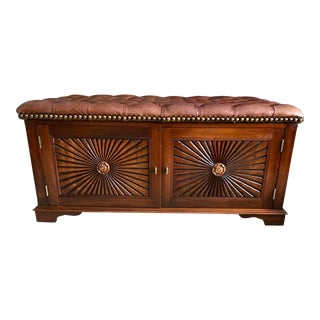 Tufted Leather and Mahogany Chest For Sale